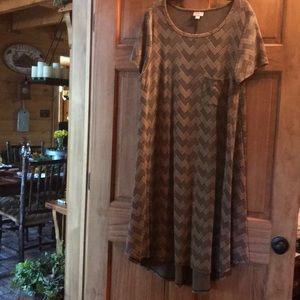 2XL LuLaRoe Carley Dress tan and black